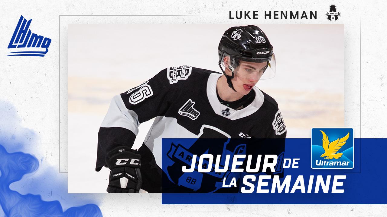 Luke Henman est nommé Joueur de la semaine dans la LHJMQ